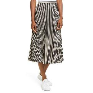 Striped Pleated Satin Midi Skirt